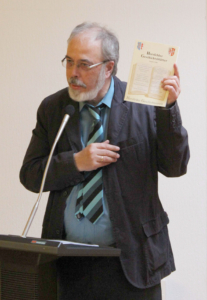 Dr. Friedhelm Röder (Flieden) während seines eindrücklichen Referates. Bild: Thomas Giese (nh)